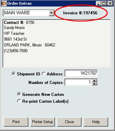 InOrder ERP Order Extras Displayed Invoice