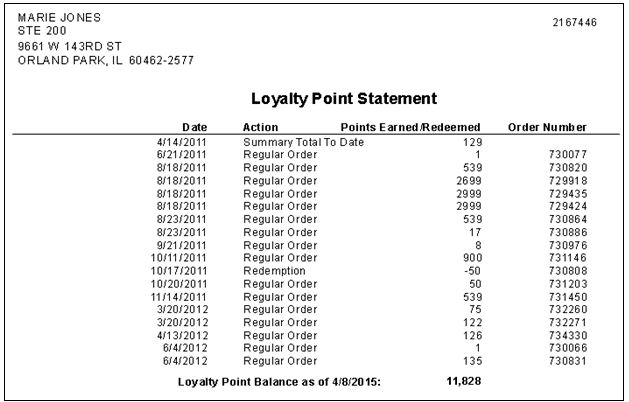 InOrder ERP Loyalty Point Statement