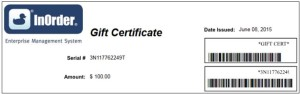 Send your Gift Certificate Electronically with InOrder ERP