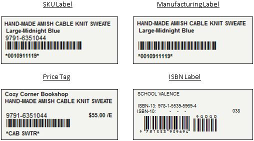 InOrder Inventory Label Samples